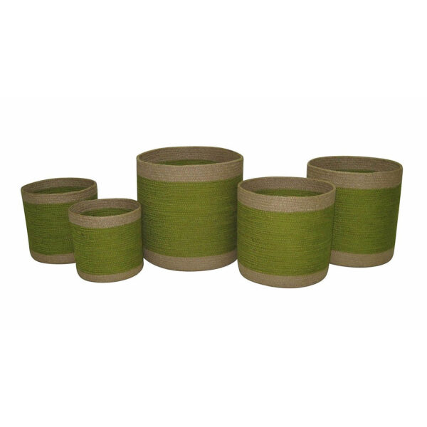 cds-set5-jute-round-planters-green-w-natural-border-cv018green