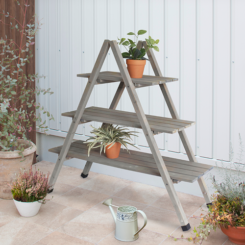 A-Frame Timber Plant Stand Grey